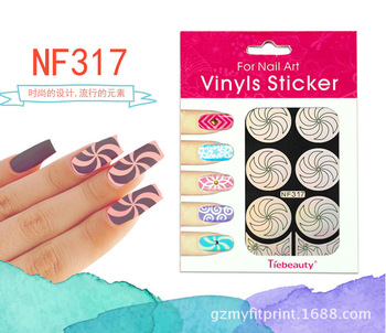 2 ADET NF317 Nail Art Sevimli Gümüş Şablon Sticker Nail Art Sticker Nail Art Şablon Sticker Girdap