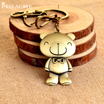 PRO ACME Alloy Antique Bronze Plated Teddy Bear Keychain Fashion Key Chain Souvenir Metal Creative Gift Keyring PWK0468