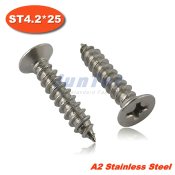 100pcs/lot DIN7982 ST4.2*25 Stainless Steel A2 Phillips Cross Recessed Countersunk Self Tapping Screw